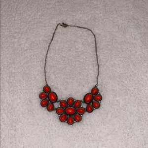 Bronze and Coral Floral Necklace